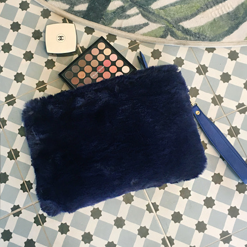 Fur Clutch Blue /30%SALE/