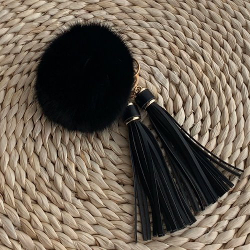 FOX FUR KEYRING - Black Tassel /30%Sale/