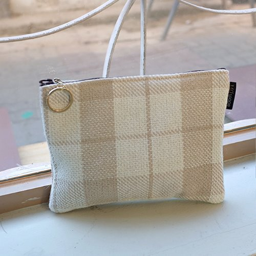 [Pouch] Beige Check /30%SALE/