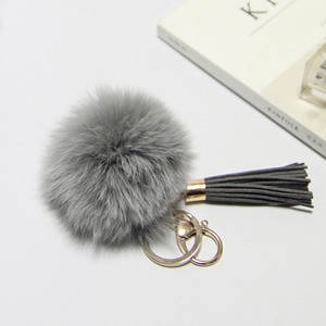 FOX FUR KEYRING-Gray/20%Sale/