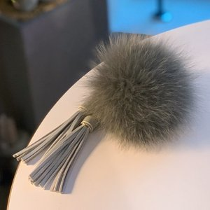FOX FUR KEYRING - Gray Tassel /40%Sale/