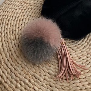 FOX FUR KEYRING - two tone /30%Sale/